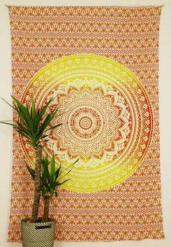 Tagesdecke Wandbehang Ombré Mandala Verlauf rot gelb