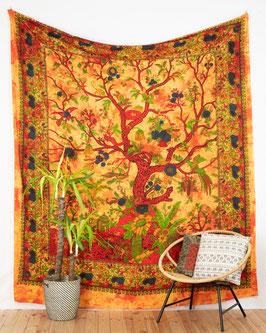 Wandbehang Lebensbaum orange
