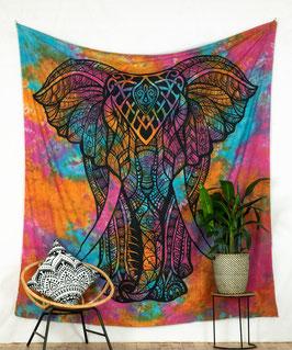 Großer Motiv Wandbehang indischer Elefant batik bunt