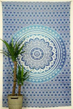 Tagesdecke Wandbehang Ombré Mandala Verlauf blau
