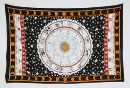 Wandtuch Sternzeichen Kreis schwarz weiß