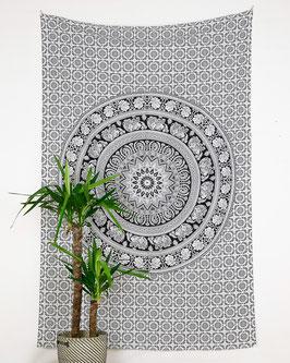 Wandtuch Elefanten Mandala schwarz weiß