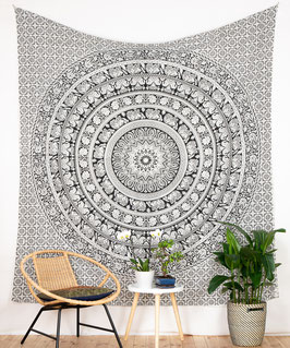 Großer Wandbehang Elefanten Mandala s/w