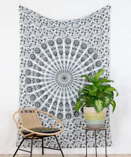 Wandtuch Pfauenfeder Mandala weiß grau