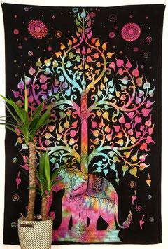 Wandtuch Lebensbaum Elefant bunt
