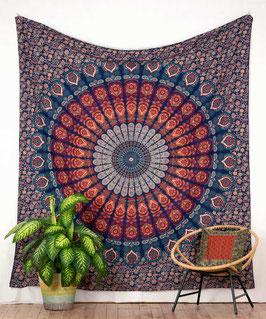 Wandbehang Pfauenfeder Mandala blau orange türkis