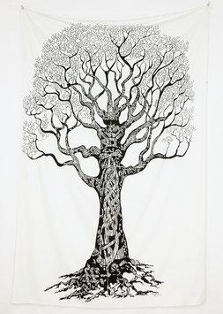 Wandtuch Weltenbaum s/w