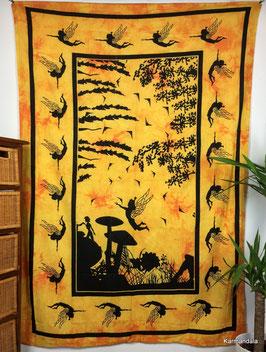 Tagesdecke Wandtuch Elfenwald gelb