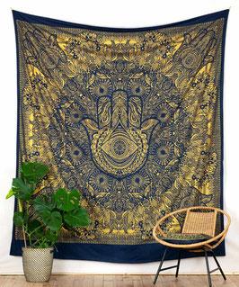 Gold Wandbehang Fatimas Hand blau