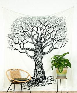 Wandbehang Weltenbaum s/w