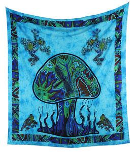 Wandbehang Magischer Pilz batik blau