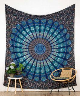Wandbehang Pfauenfeder Mandala blau türkis