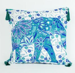 Kissenbezug mit Quaste Elefanten Design Mintgrün blau
