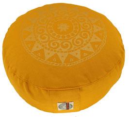 """Designer Meditationskissen Gr.S """"Ur-Mandala Variation"""" curry"""