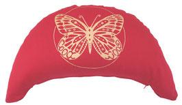 "Designer Halbmond Meditationskissen ""Butterfly"" kirschrot"