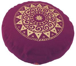 "Designer Meditationskissen Gr.S ""Ur-Mandala Variation"" aubergine"