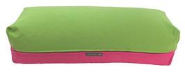 Yoga Bolster eckig apfelgrün + pink