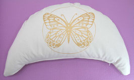 """Designer Halbmond Meditationskissen """"Butterfly"""" naturweiß"""