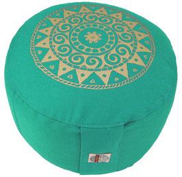 """""""Ur-Mandala Variation"""" seegrün Designer Meditationskissen Gr.M"""