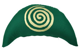 "Designer Halbmond Meditationskissen ""Spirale"" dunkelgrün"