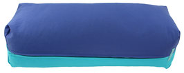 Yoga Bolster eckig  jeansblau + türkis