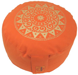 """Ur-Mandala Variation orange"" Designer Meditationskissen Gr.M"