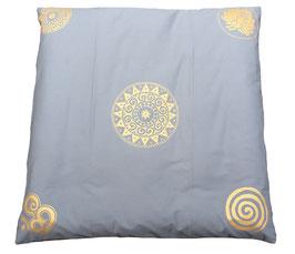 "Designer Meditations-Matte / Zabuton ""silbergrau Ur-Mandala Variation"""