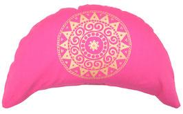 """Designer Halbmond Meditationskissen """"Ur-Mandala Variation"""" pink"""
