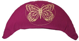 "Designer Halbmond Meditationskissen ""Butterfly"" aubergine"