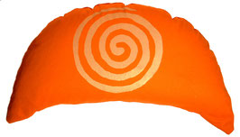 "Designer Halbmond Meditationskissen ""Spirale"" orange"