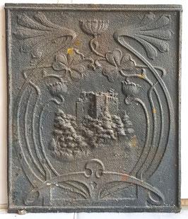 """ID 215  Ofenplatte Jugendstil """"Die Burg"""" - Art Nouveau - Art Nouveau Stove Plate """"The Castle"""""""