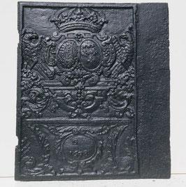 ID 29 - Allianzwappen Lothringen Bourbonen 1698 Seitenplatte eines Ofens - Coat of Arms of the Lorraine-Bourbon Alliance 1698