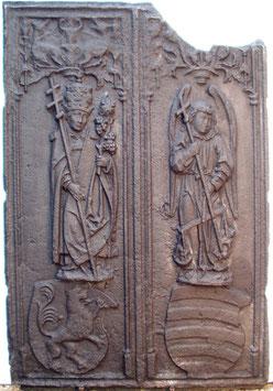 ID 120 - St. Urban - Schutzpatron der Winzer und Erzengel Michael mit der Seelenwaage mit 2 Wappen - 'St. Urban' – patron saint of winemakers and 'Archangel Michael' with the 'Balance of Life'