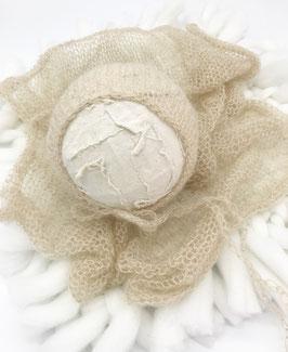 Kuschelweicher dehnbarer Baumwoll Wrap & HaubeBaby Fotografie Babyshooting Baby Foto Requisiten