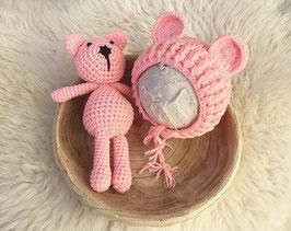 Fotoaccessoire Baby Fotografie Mütze Neugeborenen Accessoire Fotoshooting Accessoire Baby Haube Neugeborenen Fotografie Teddy Ohren