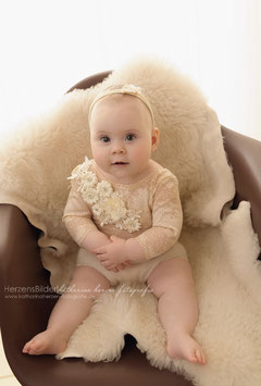 Strampler, Sitter, Romper, Haarband,  Foto Outfit, Baby Body ,Baby Fotografie 6-9 Monate / 9-12 Monate
