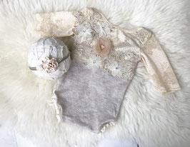 Strampler, Sitter, Romper, Haarband,  Foto Outfit, Baby Body ,Baby Fotografie 6-9 Monate / 9-12 Monate