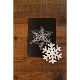 Postkarte mit Schneflocke aus Holz und passende Postkarte dazu