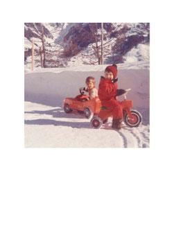 Postkarte Alt Winter Auto