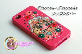 iPhone4/4S シリコンカバー/ケース cherrypink2440