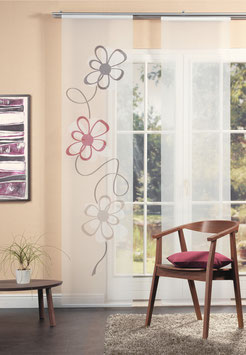Flächenvorhang Batist mit Blumenmotive
