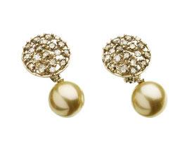 """Südseeperlohrhänger """"Concerto"""" aus unrhodiniertem 750/000 Weissgold mit zwei natürlich goldenen Südseeperlen und Brillanten und braunene Diamanten"""