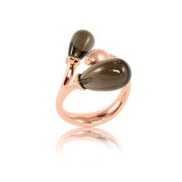 Ring aus der Serie 'rose hip' 925 Pampeln Rauchquarz  rosevergoldet