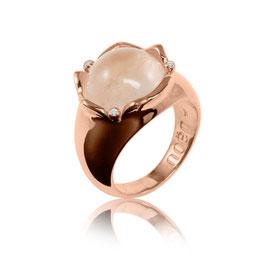 Noen Ring aus der Serie 'rose flower'  Silber, Rosenquarz mit Brillanten