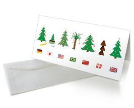"Karte ""Internationale Weihnachtsbäume"""