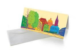 """Grußkarte """"Allet Jute"""", Aachener Dom, bunt"""