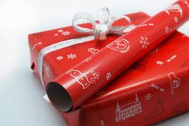Aachen Geschenkpapier, Frohe WeihnAACHtEN, rot, Doppelpack