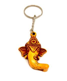 Llavero madera - cabeza Ganesha