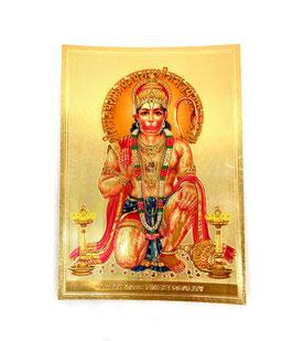 Postal Hanuman sentado - detalles dorados