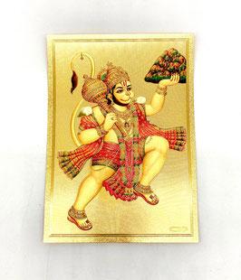 Postal Hanuman volando - detalles dorados